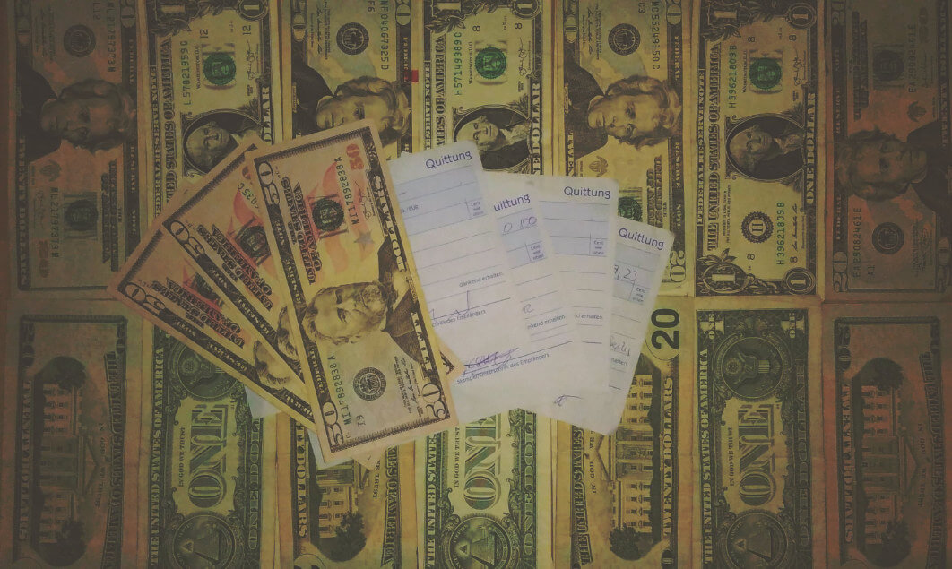 Slam Geld-Stockbild Quittungen