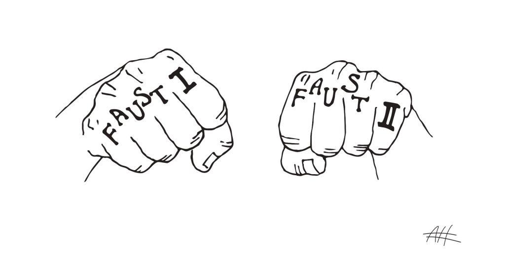 Faust 1 Faust 2: Du kannst wählen! Illustration von Nune Arazyan zu Goethe & Poetry Slam
