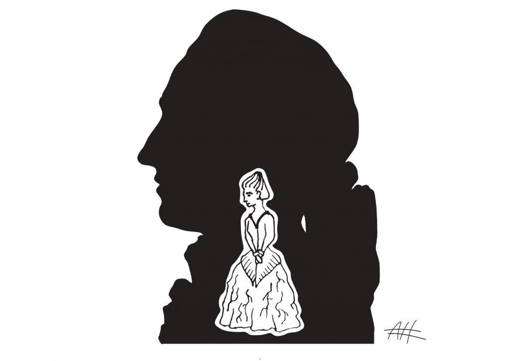 Im Schatten des berühmten Bruders. Illustration von Nune Arazyan zu Goethe & Poetry Slam